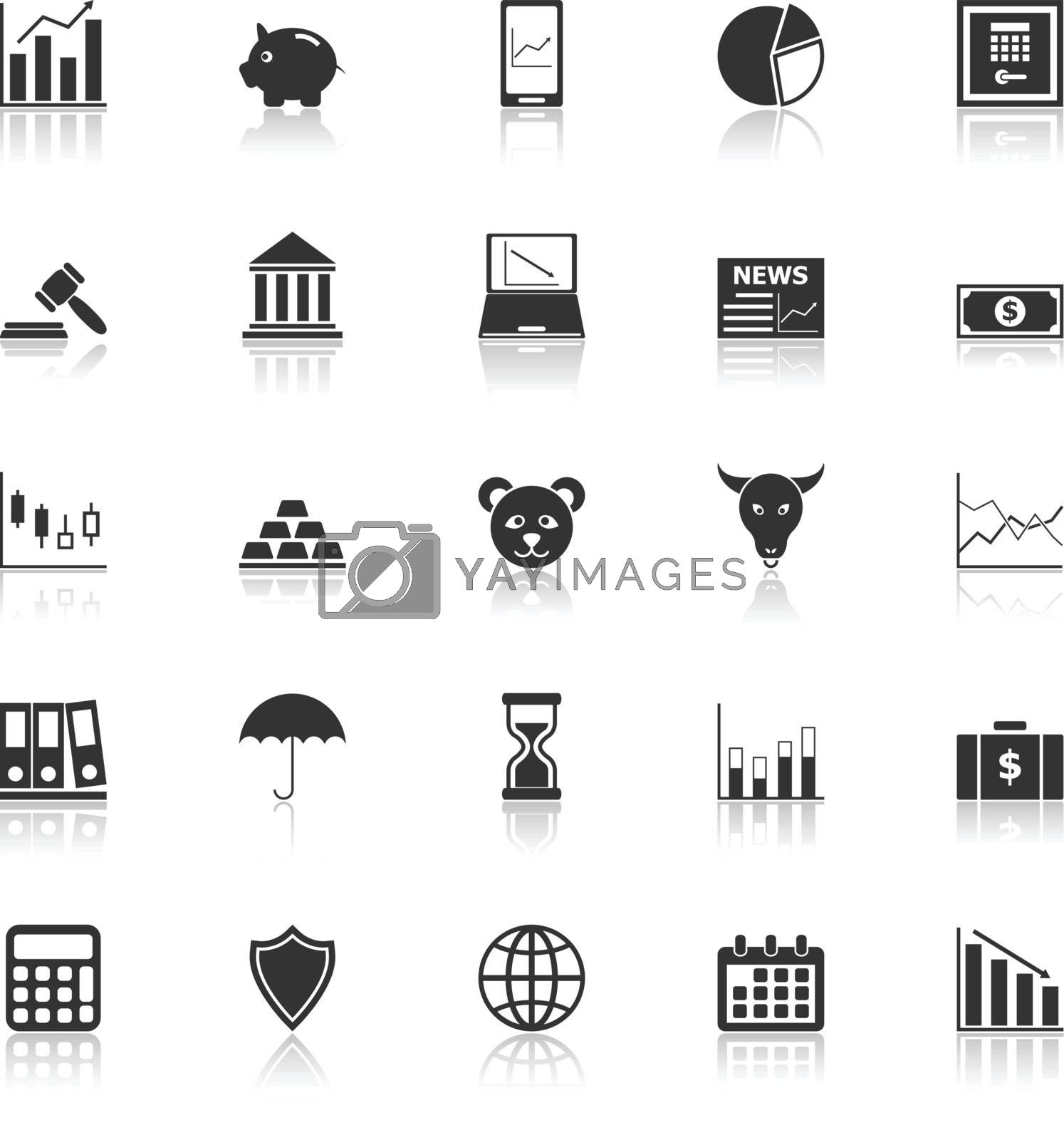 Stock market icons with reflect on white background, stock vector
