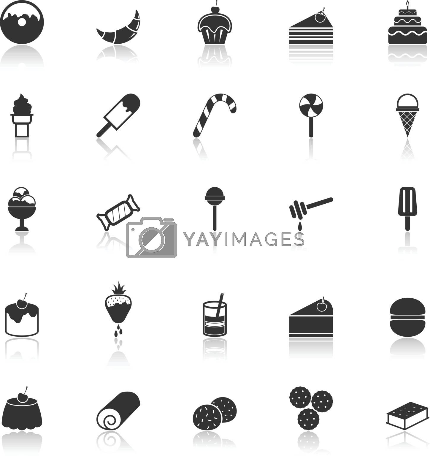 Dessert icons with reflect on white background, stock vector