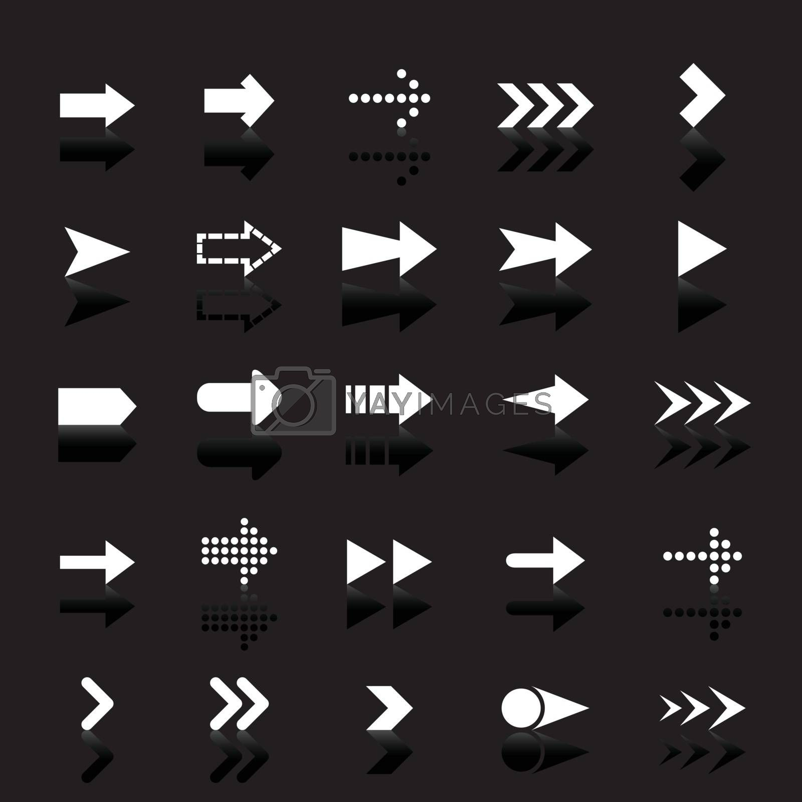 Arrow icons with reflect on black background by punsayaporn