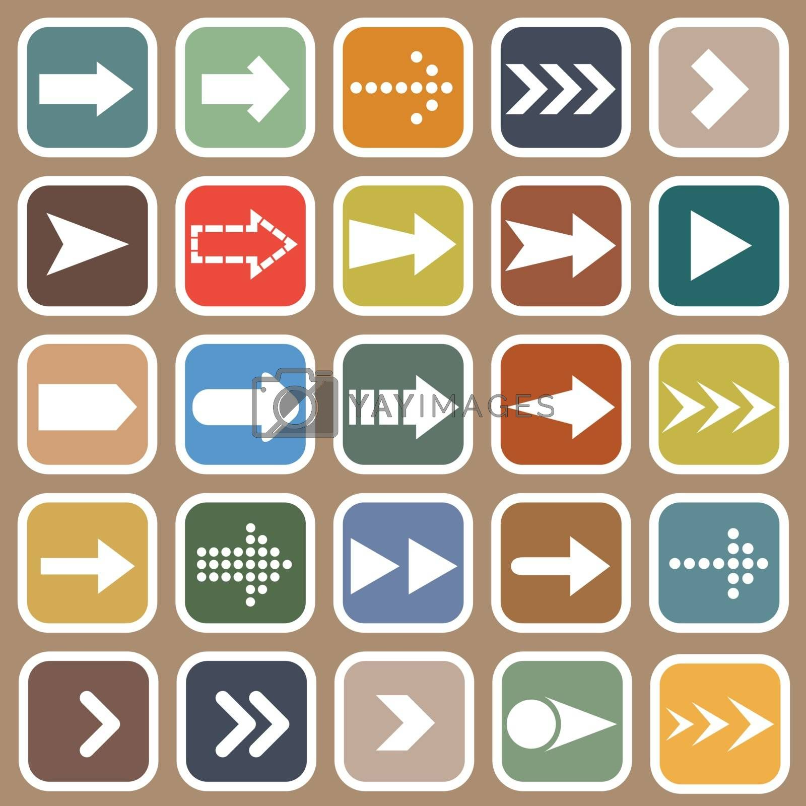 Arrow flat icons on brown background by punsayaporn