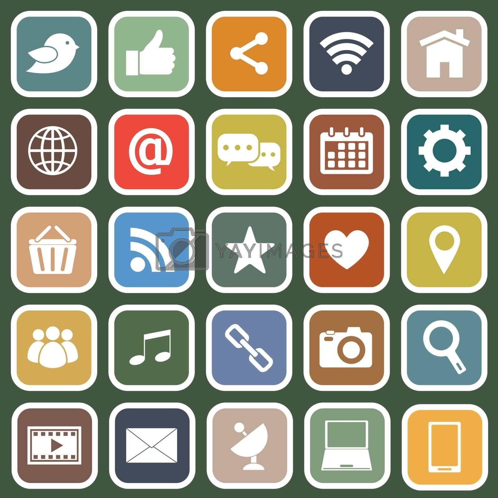 Social media flat icons on green background by punsayaporn