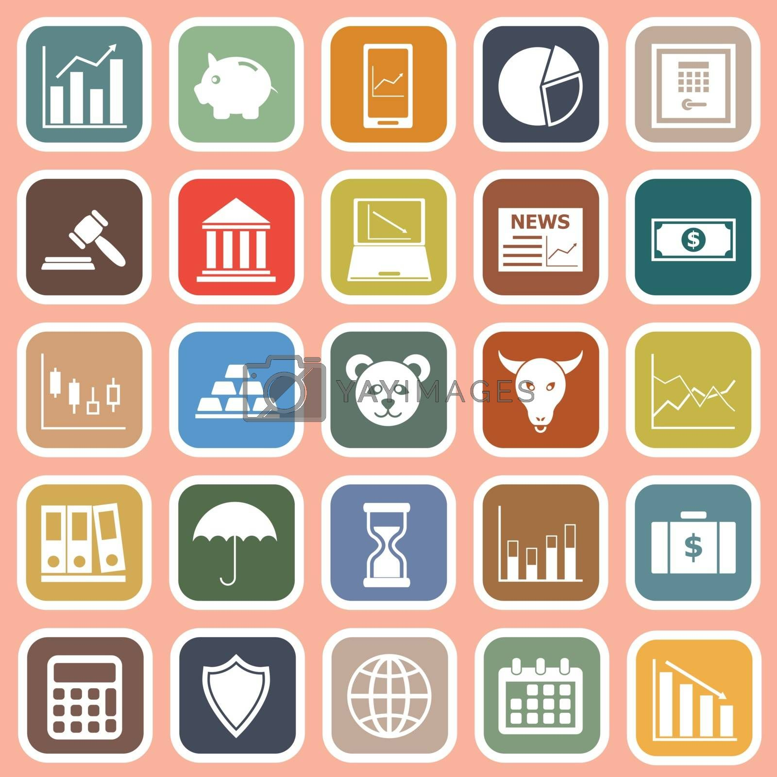 Stock market flat icons on red background by punsayaporn