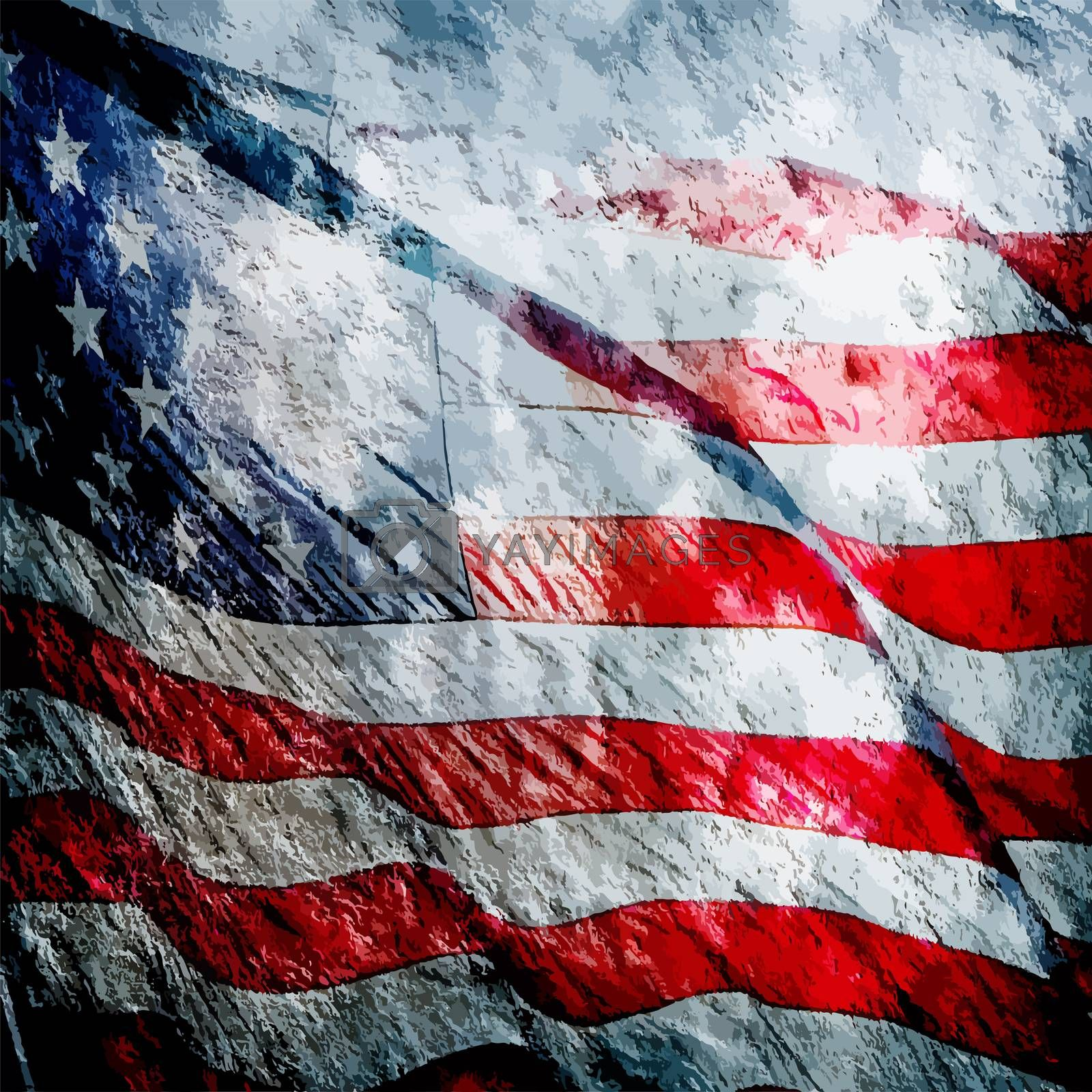 American flag grungy vintage textured background by PixAchi