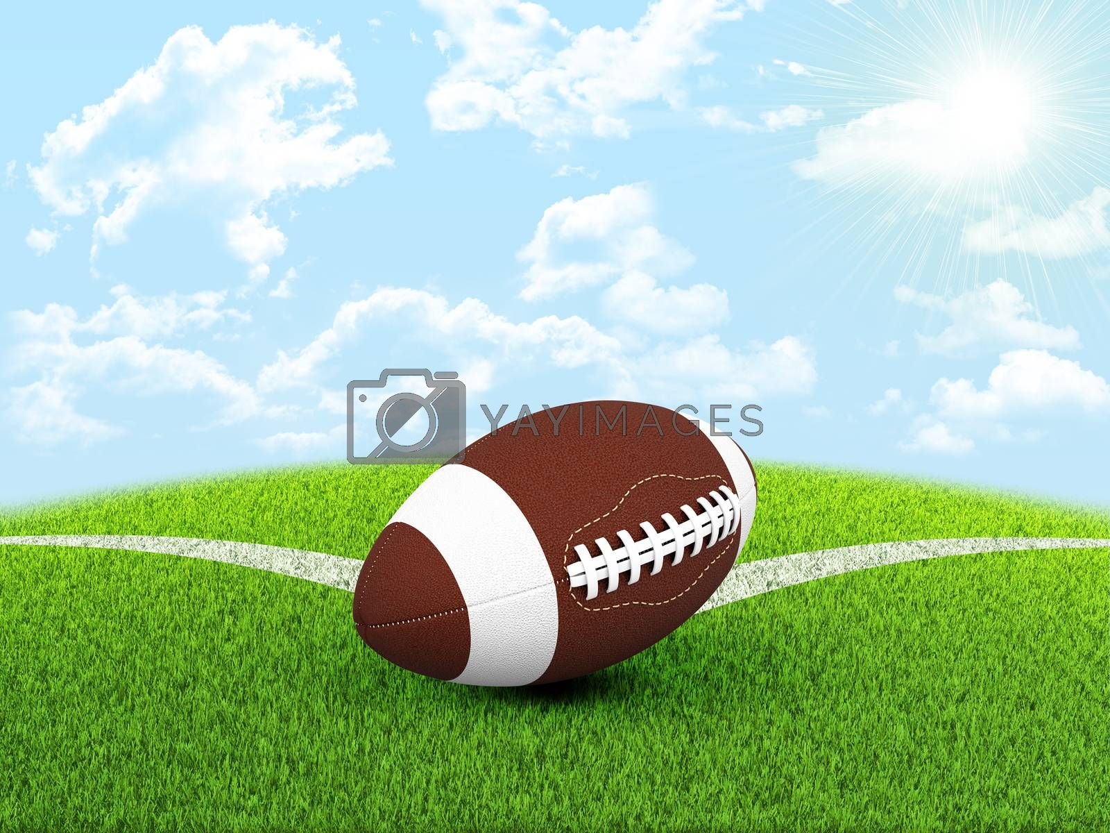 Football ball in the corner of field by cherezoff