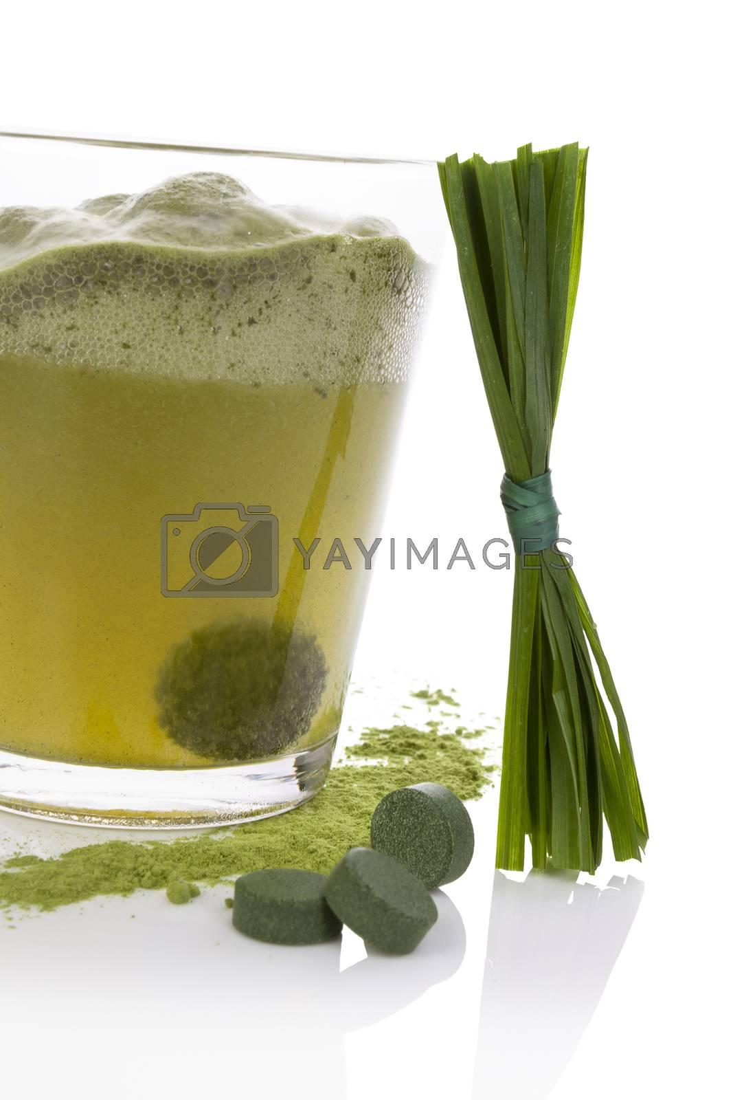 Chlorella, wheatgrass and spirulina.  by eskymaks