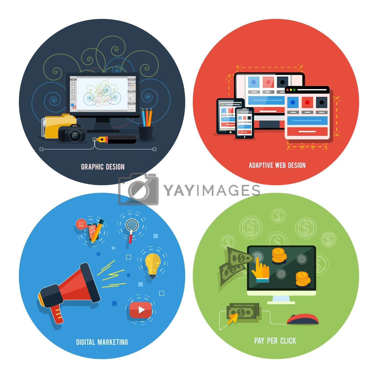 Icons for web design, seo, social media by robuart