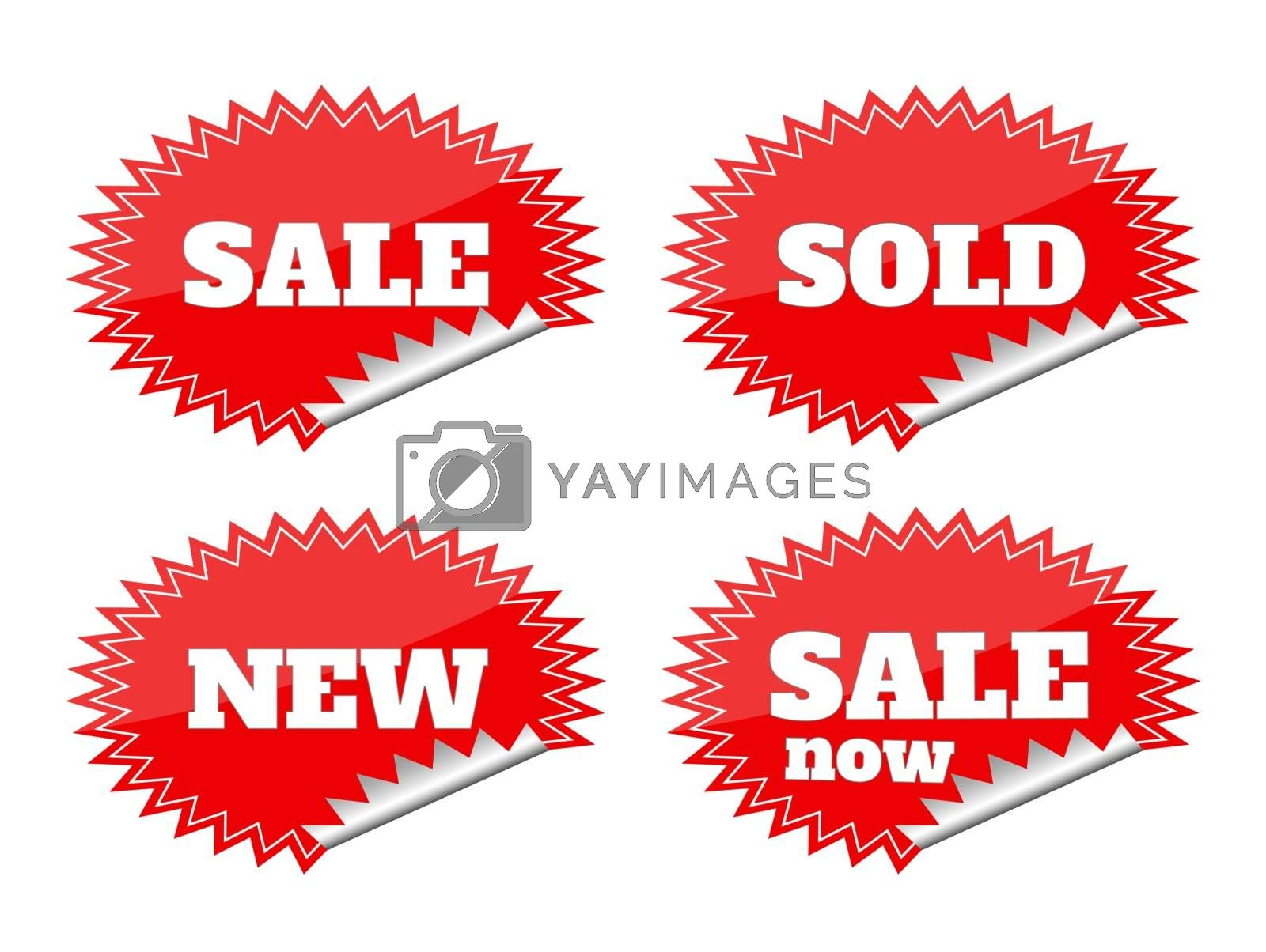 Set of red seals stickers with sale text by robuart