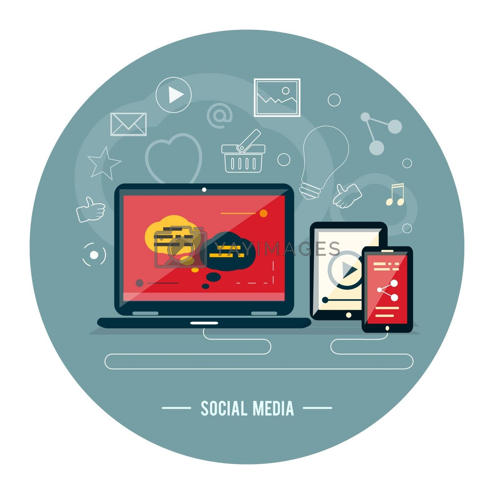 Cloud of application icons. Social media by robuart