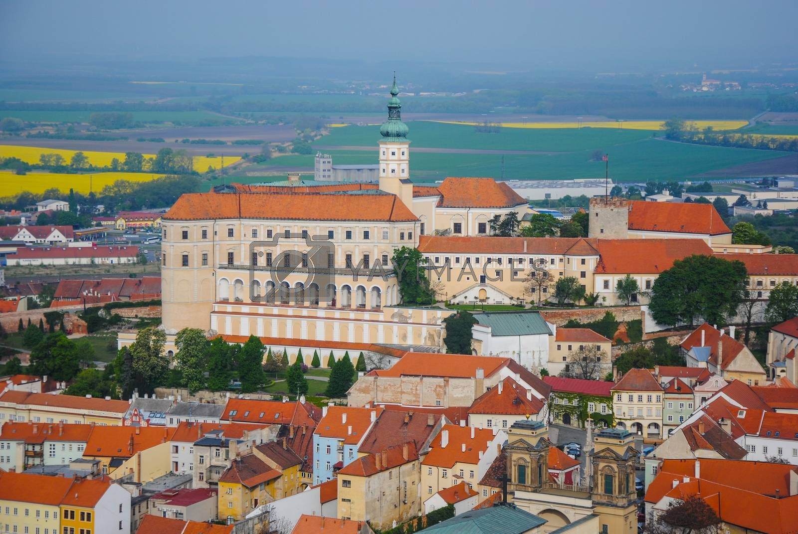Mikulov castle in typical moravian town by pyty