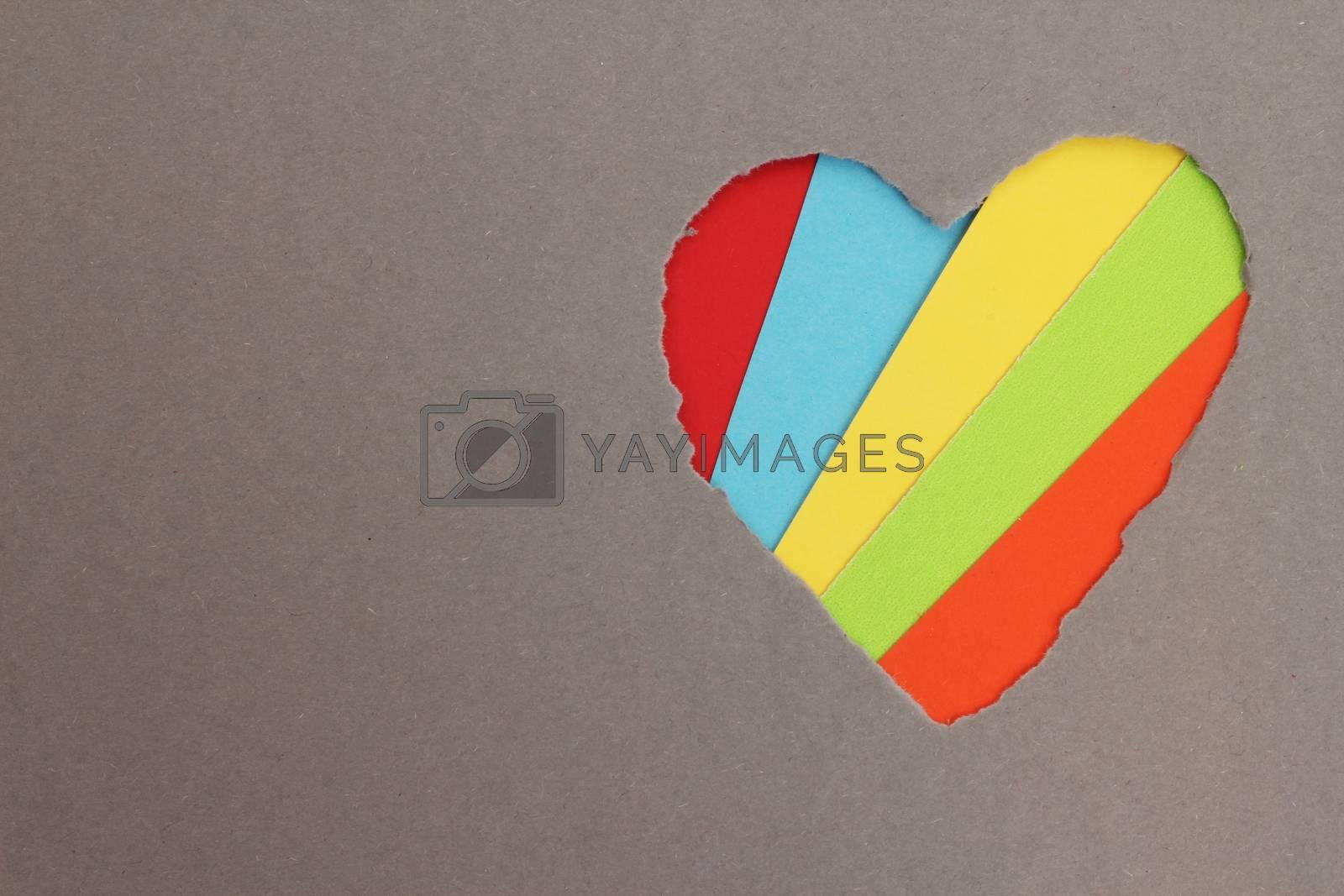 Torn heart in paper by Liubov Mikhaylova