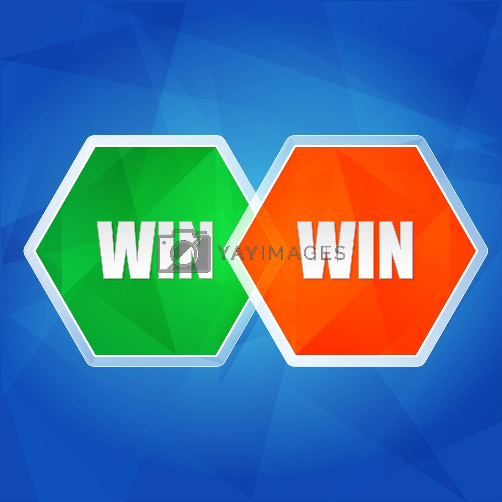Royalty free image of win win in hexagons, flat design by marinini