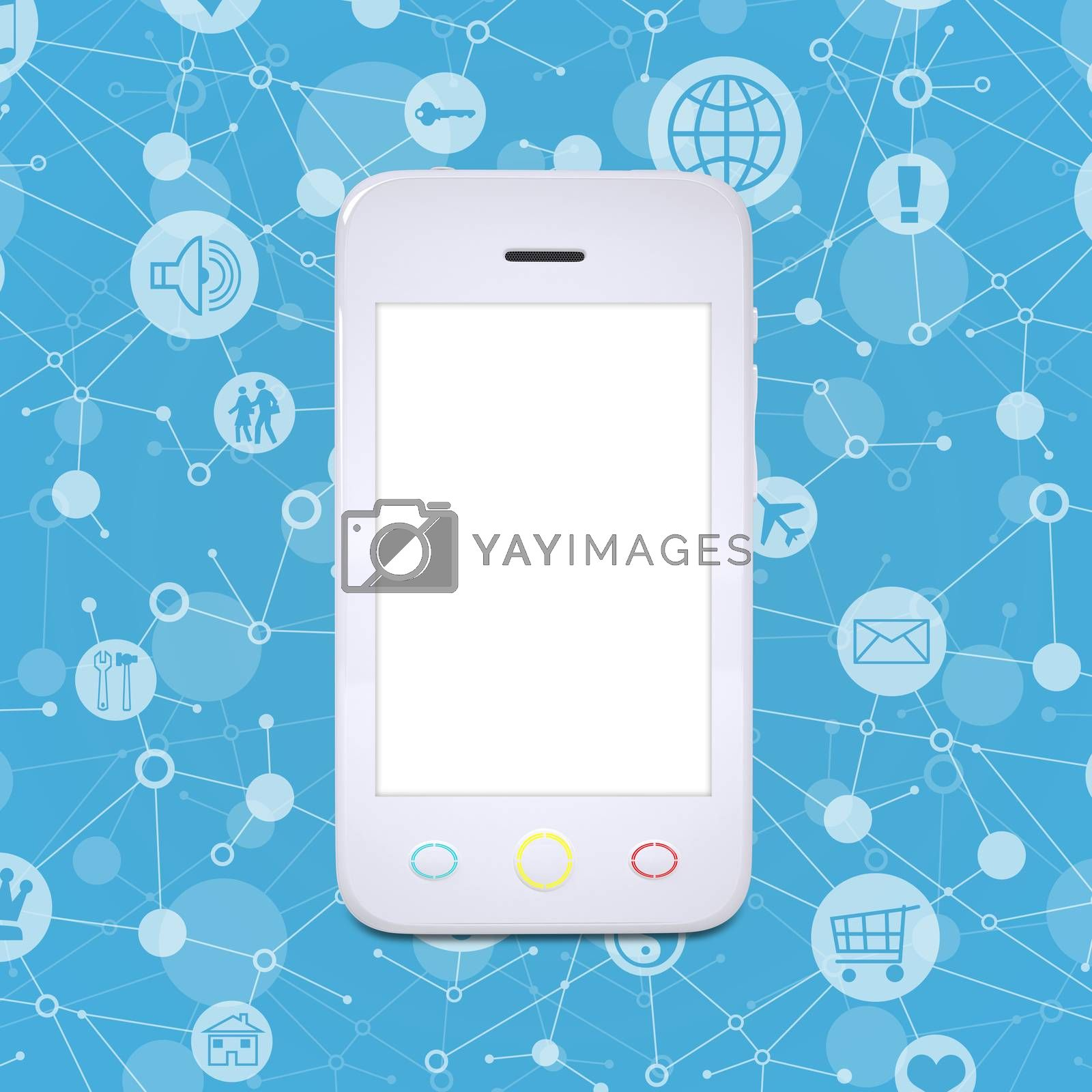 Royalty free image of Smart phone on a background lattice social network by cherezoff