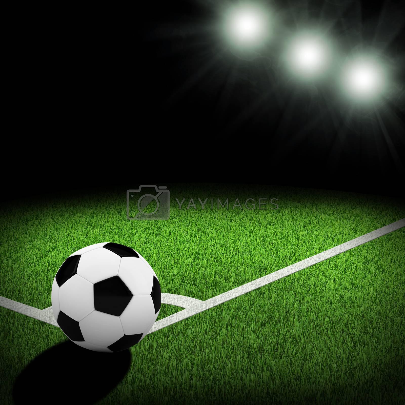Royalty free image of Night football arena illuminated by spotlights by cherezoff