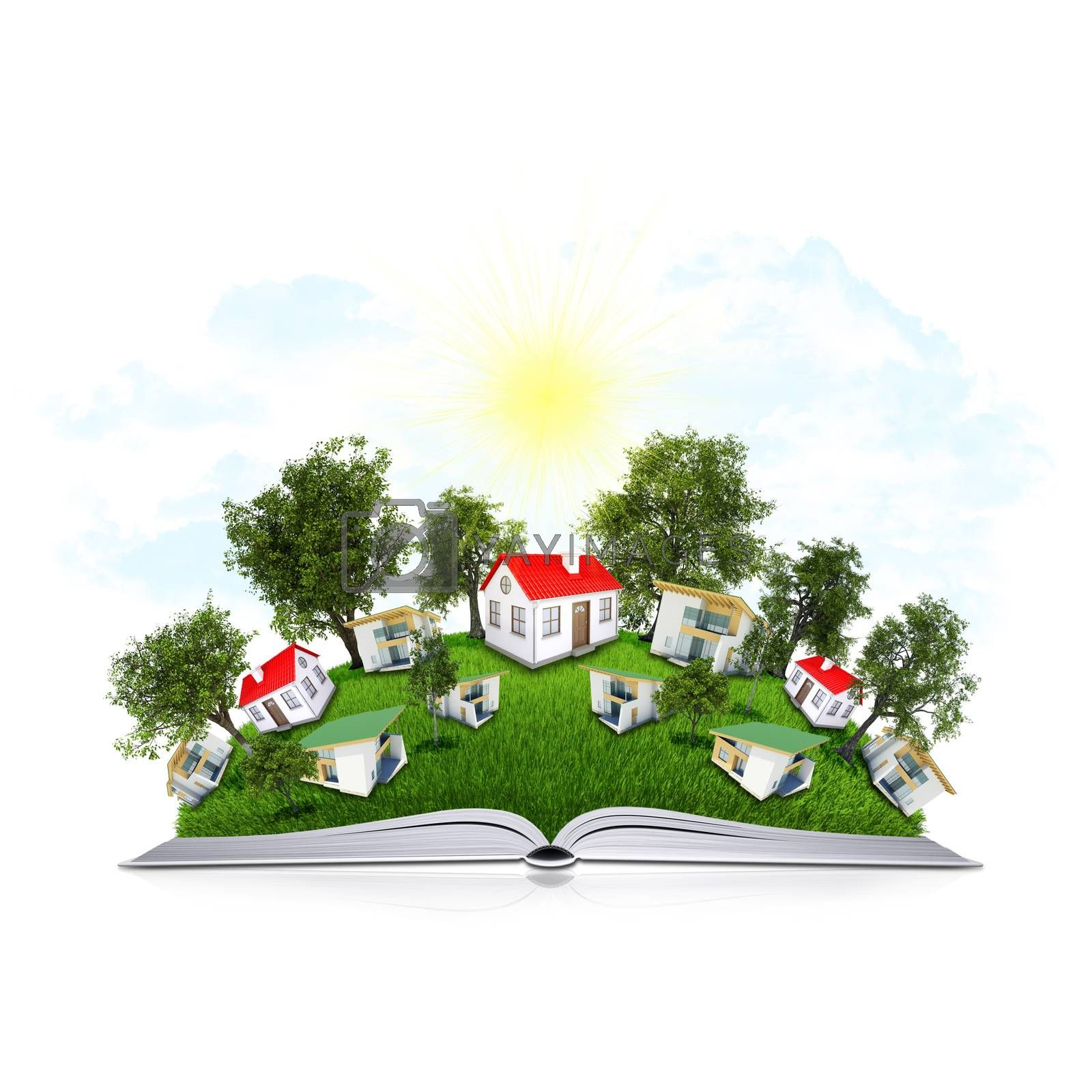 Royalty free image of On the pages of an book is grass, trees and houses by cherezoff