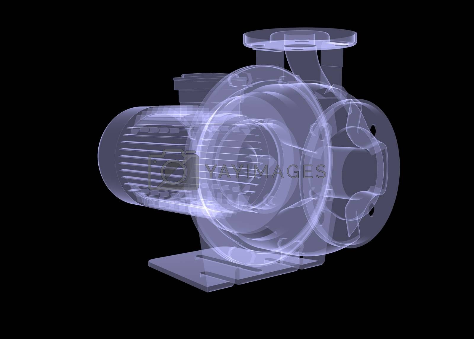 Royalty free image of Water pump motor. X-ray render by cherezoff