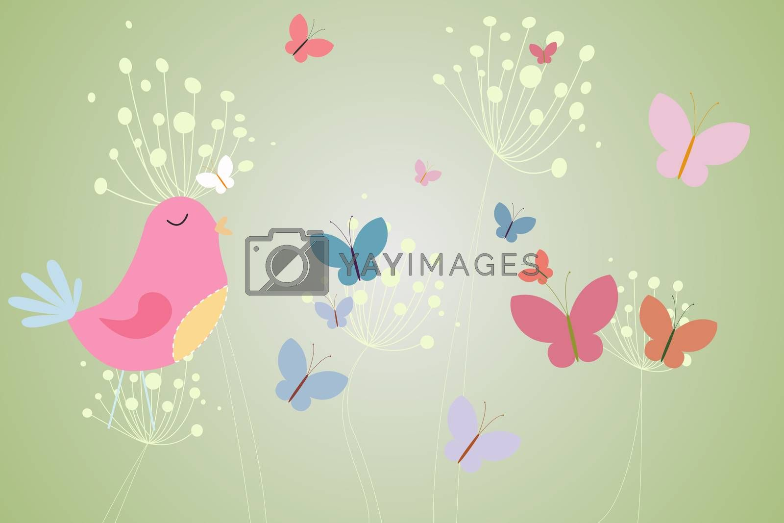 Royalty free image of Pink bird with heart and dandelions by Wavebreakmedia