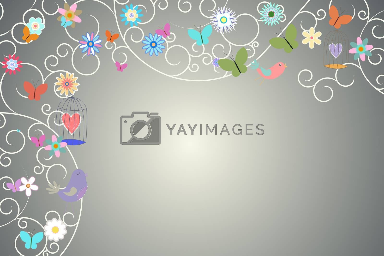 Royalty free image of Feminine design of birds flowers and hearts by Wavebreakmedia