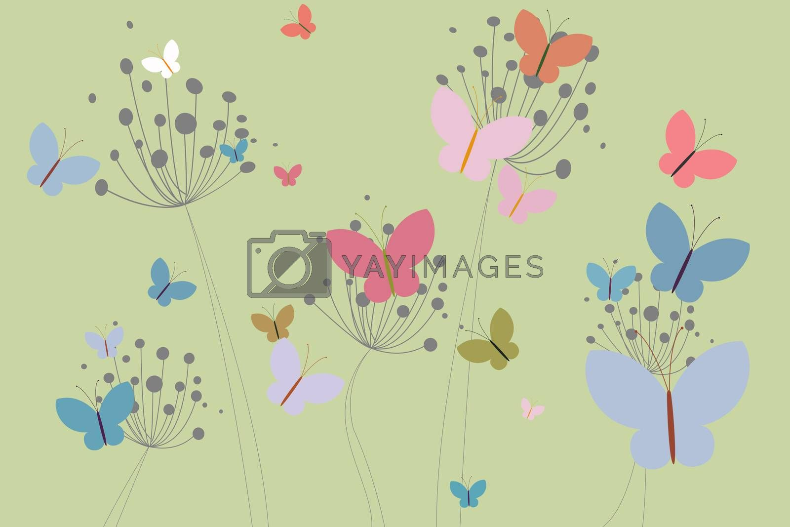 Royalty free image of Colourful butterflies and dandelions by Wavebreakmedia