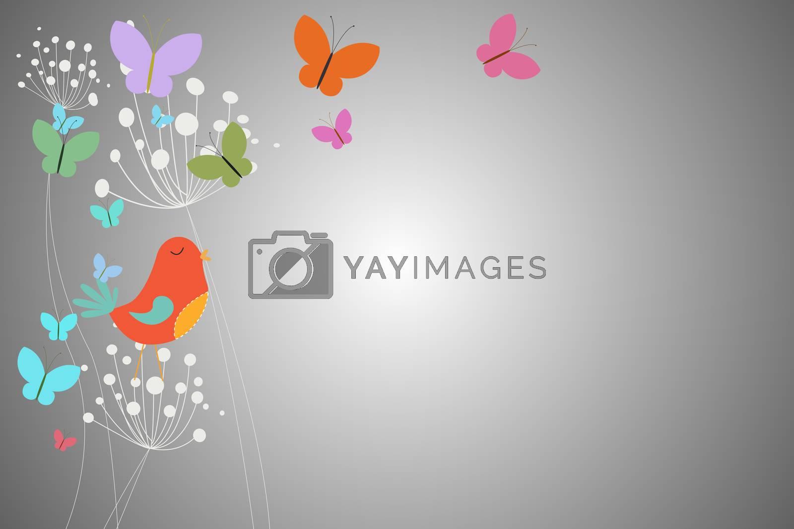Royalty free image of Feminine design of dandelions birds and butterflies by Wavebreakmedia