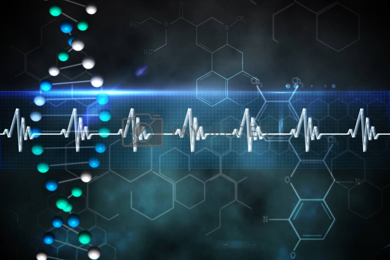 Royalty free image of Blue DNA strand with ECG line by Wavebreakmedia