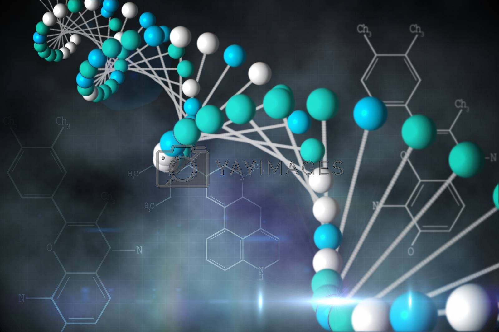 Royalty free image of Blue DNA strand with chemical structures by Wavebreakmedia