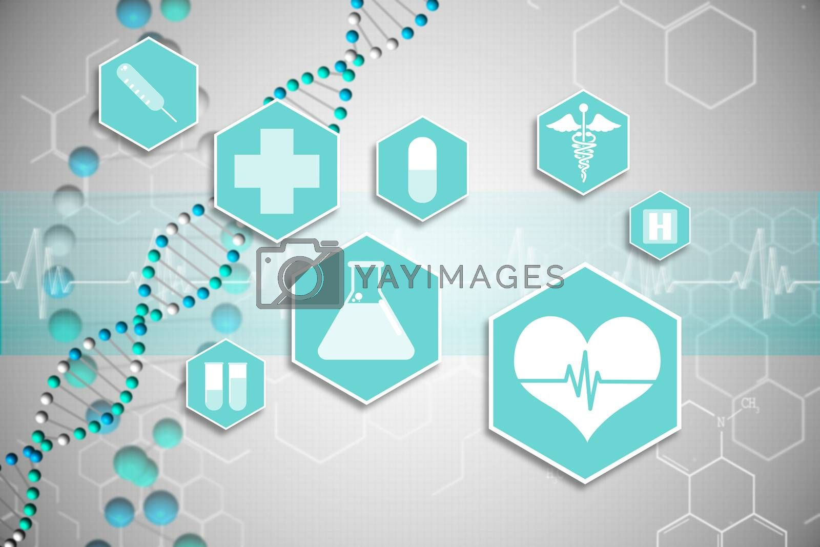 Royalty free image of Medical icons in blue and white by Wavebreakmedia