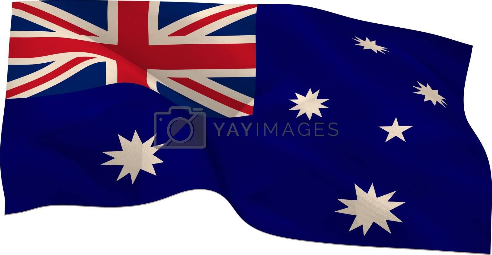 Digitally generated australia national flag on white background