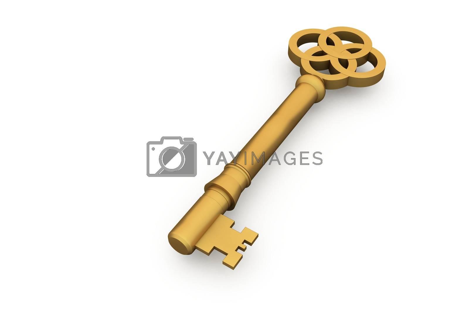 Royalty free image of Digitally generated shiny gold key by Wavebreakmedia