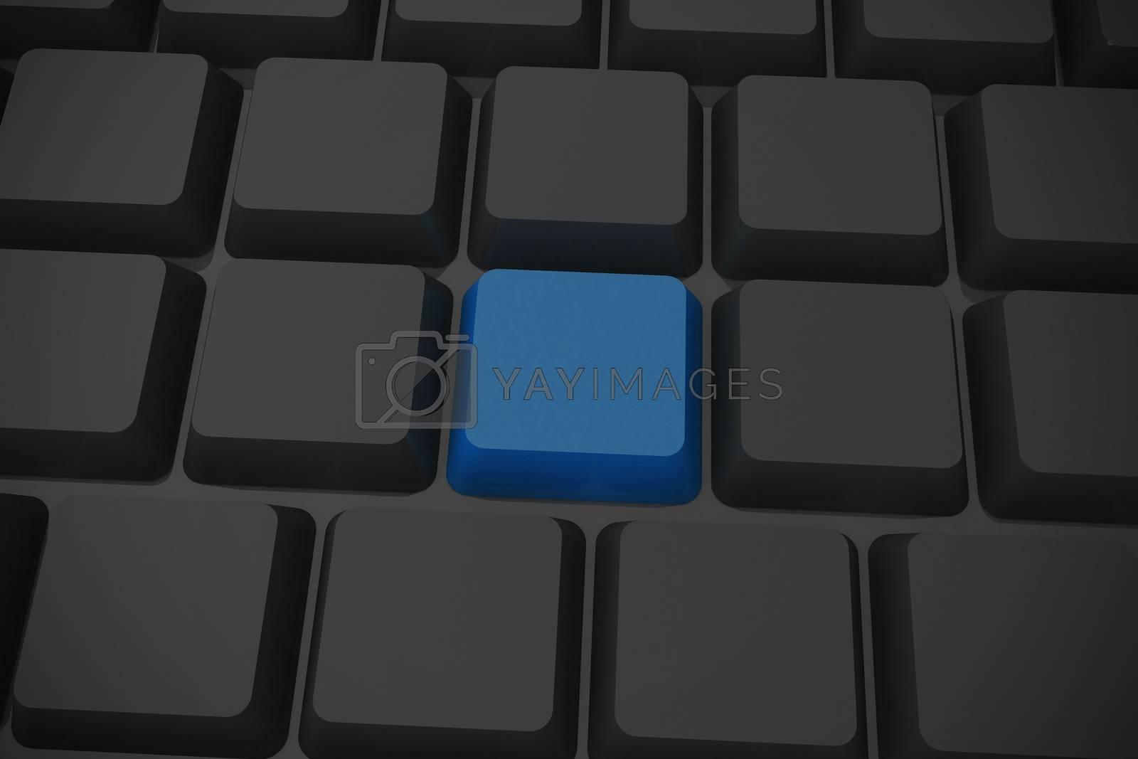 Royalty free image of Black keyboard with blue key by Wavebreakmedia