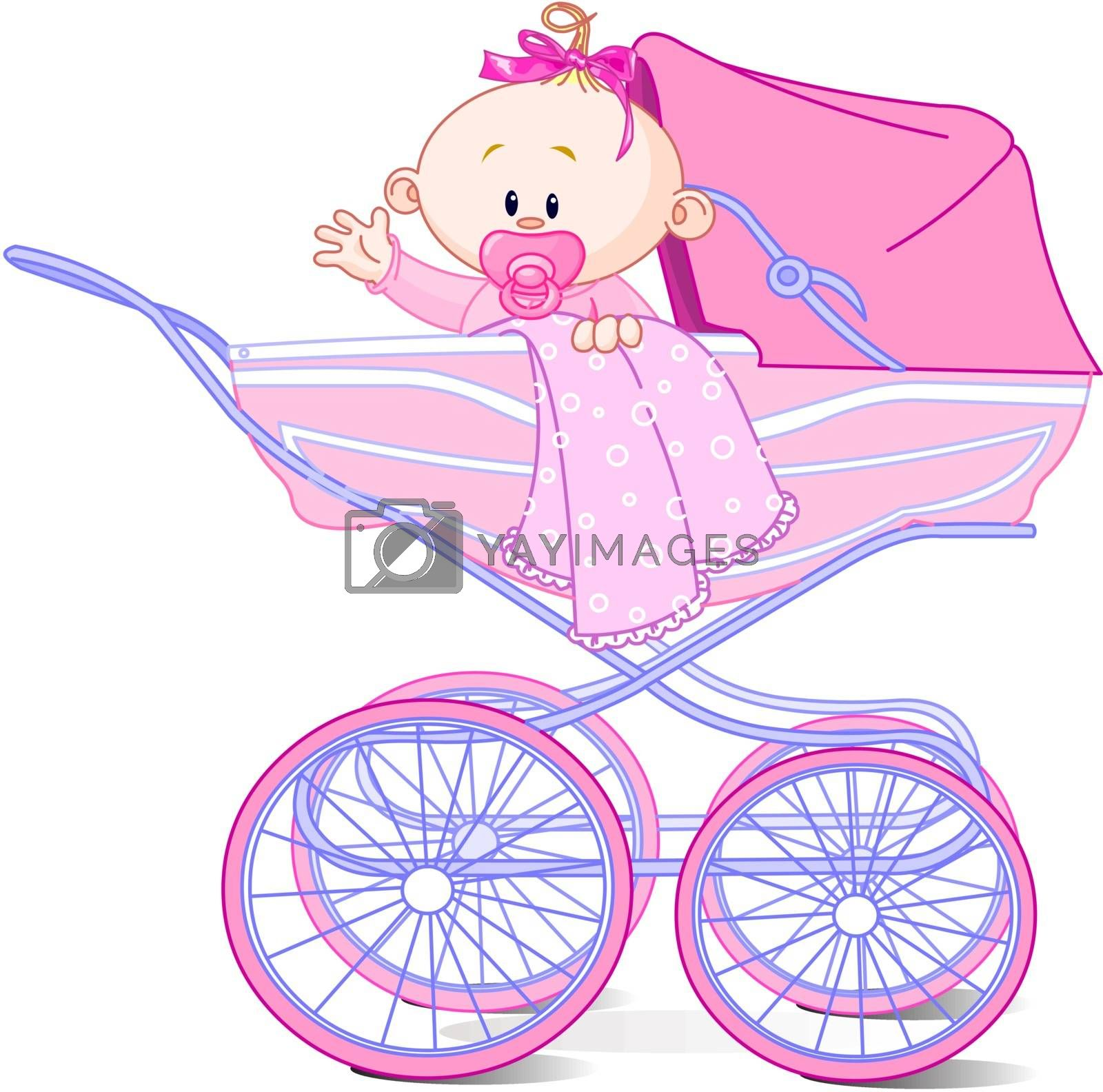 Royalty free image of Baby girl in carriage by Dazdraperma