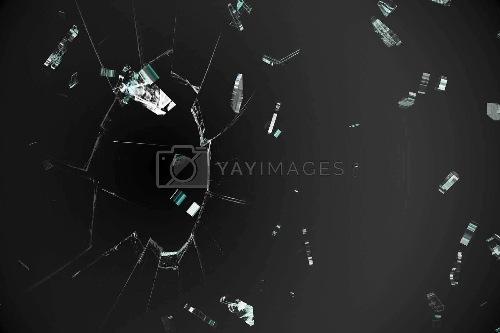 Royalty free image of Shattered glass on black background by Wavebreakmedia
