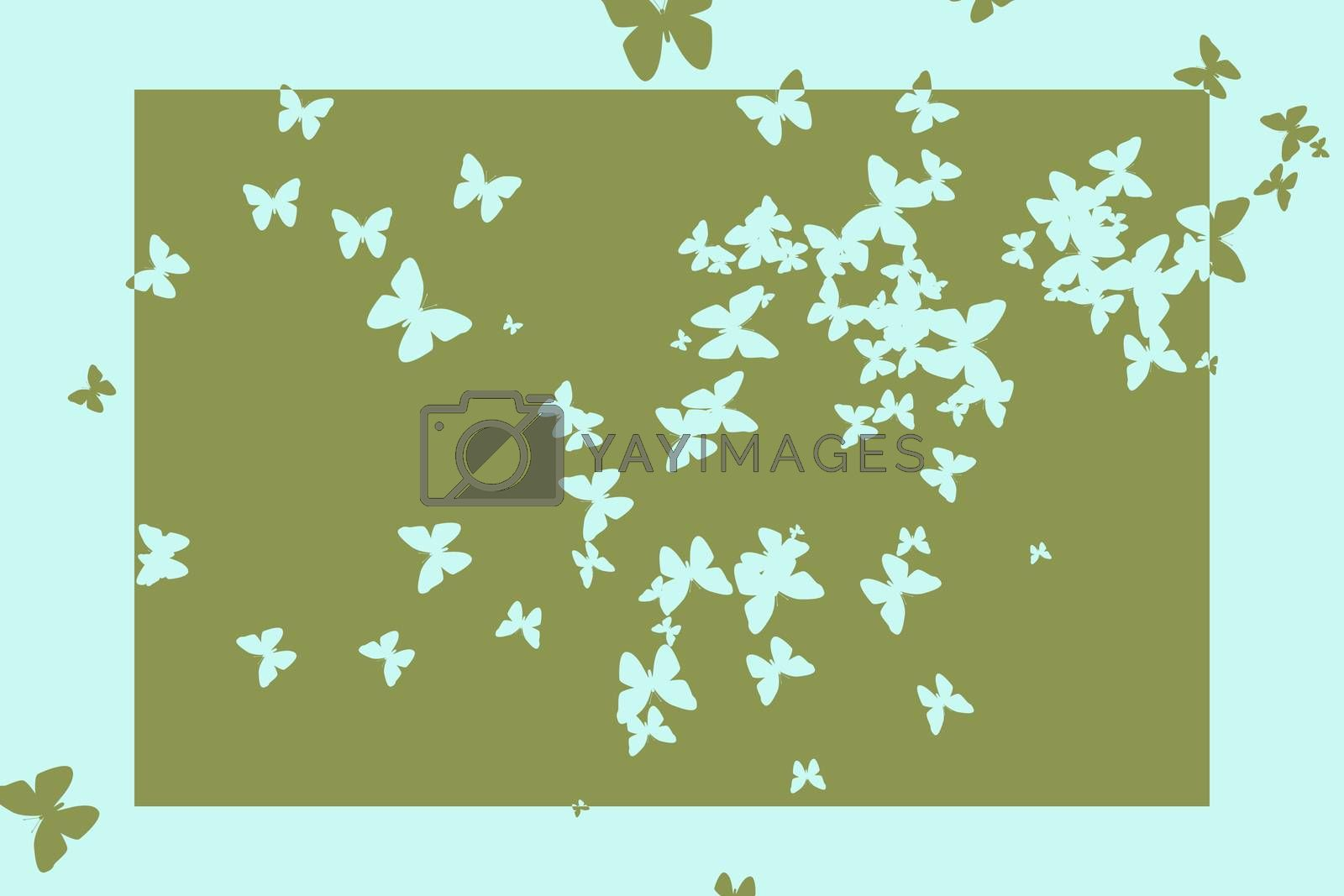 Royalty free image of Stencil butterfly pattern design in green and blue by Wavebreakmedia