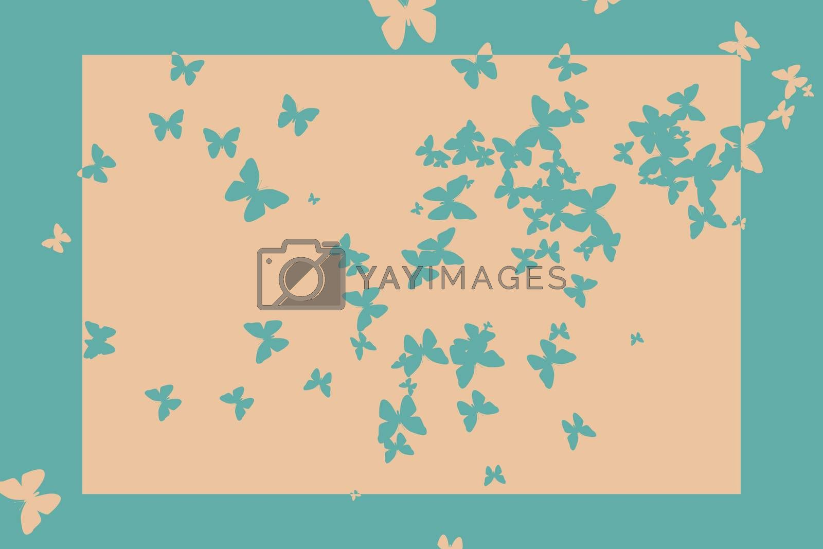 Royalty free image of Stencil butterfly pattern design in beige and blue by Wavebreakmedia