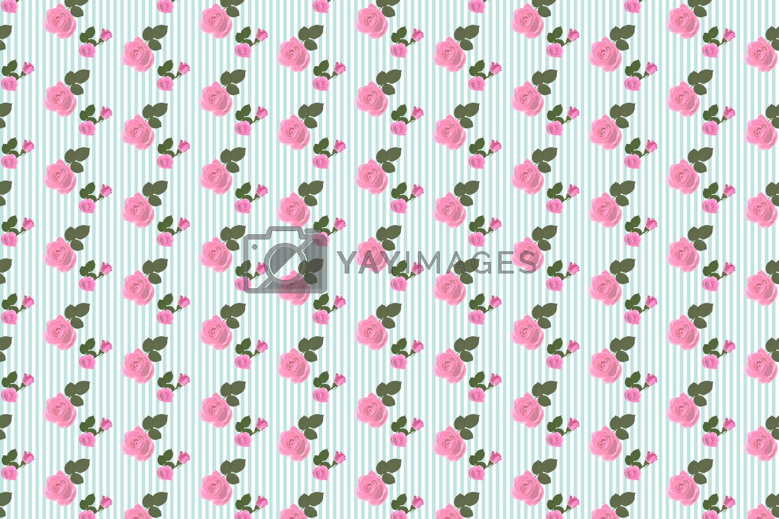 Royalty free image of Kitsch floral pattern wallpaper with roses by Wavebreakmedia