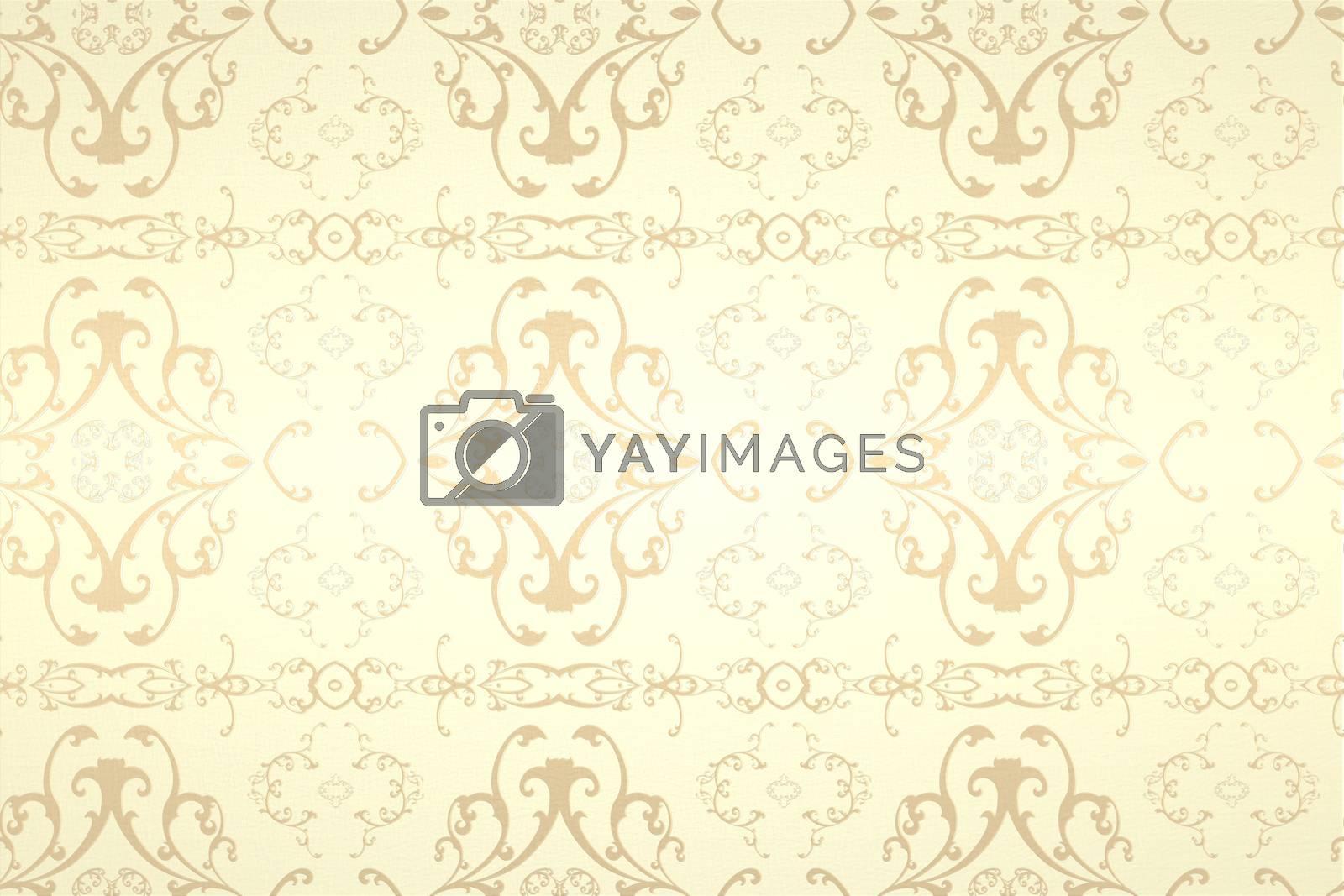 Royalty free image of Elegant patterned wallpaper in cream tones by Wavebreakmedia