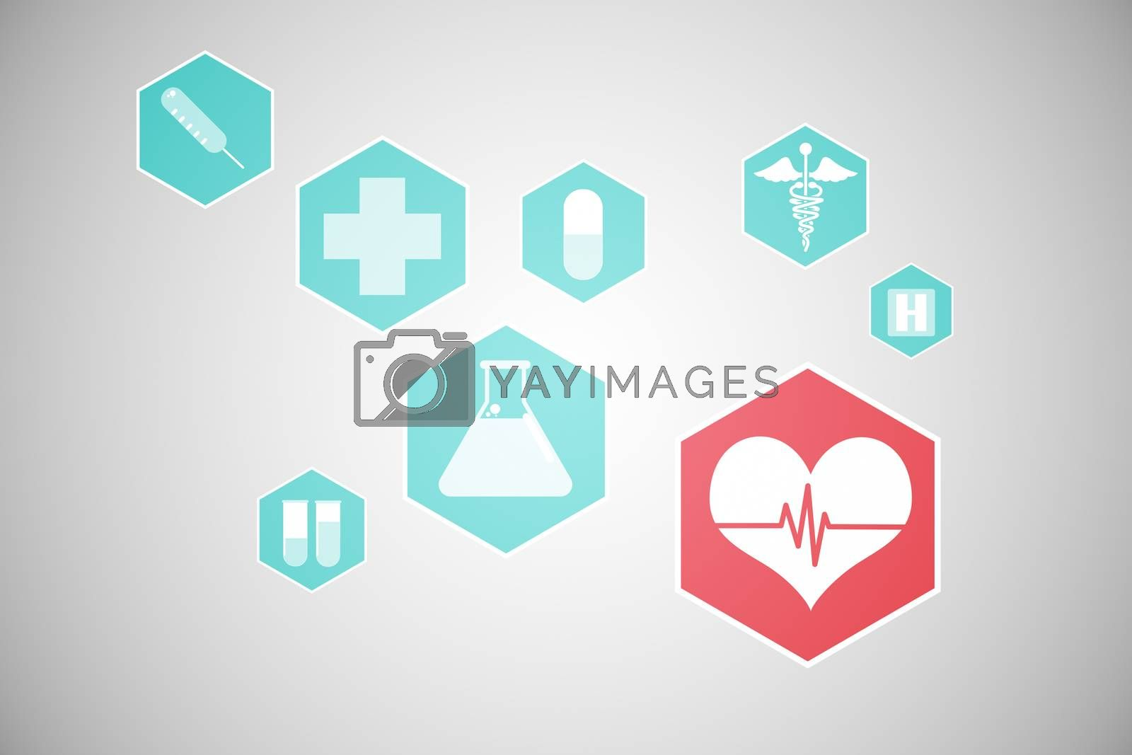 Royalty free image of Medical icons in hexagons interface menu by Wavebreakmedia