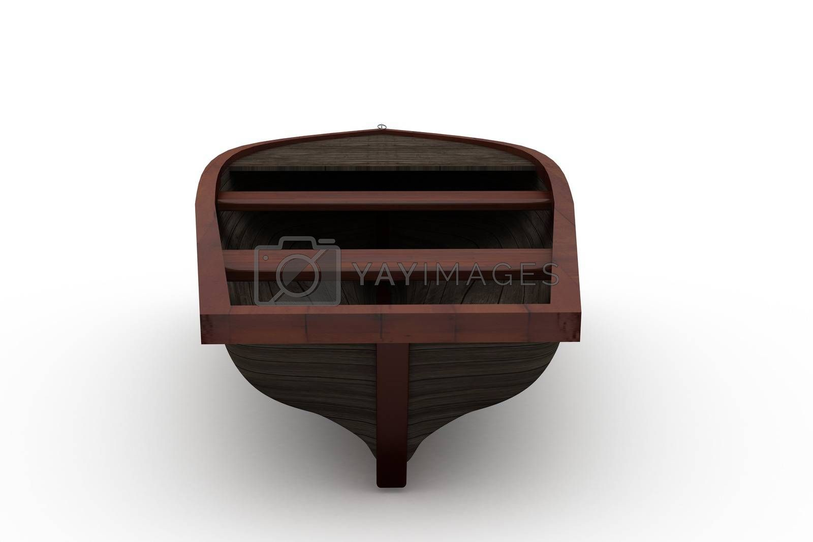 Royalty free image of Brown wooden boat with shadow by Wavebreakmedia