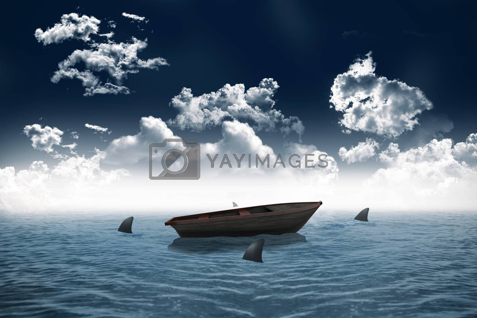 Royalty free image of Sharks circling small boat in the sea by Wavebreakmedia