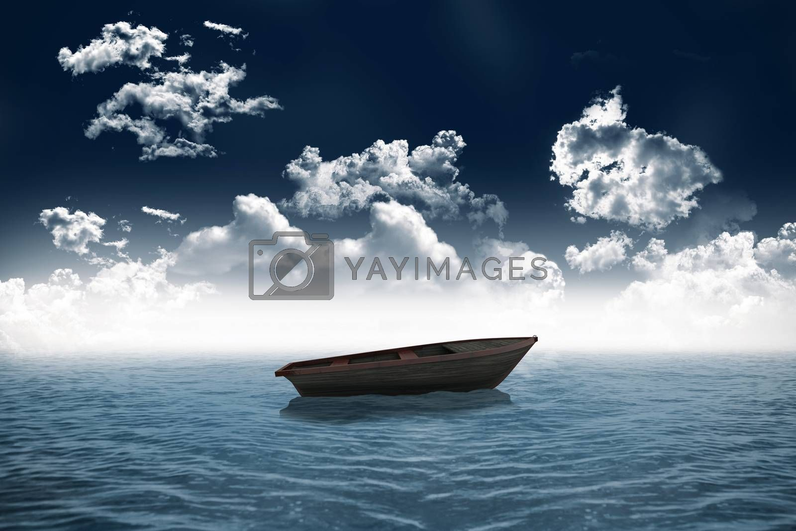 Royalty free image of Small boat in open sea by Wavebreakmedia