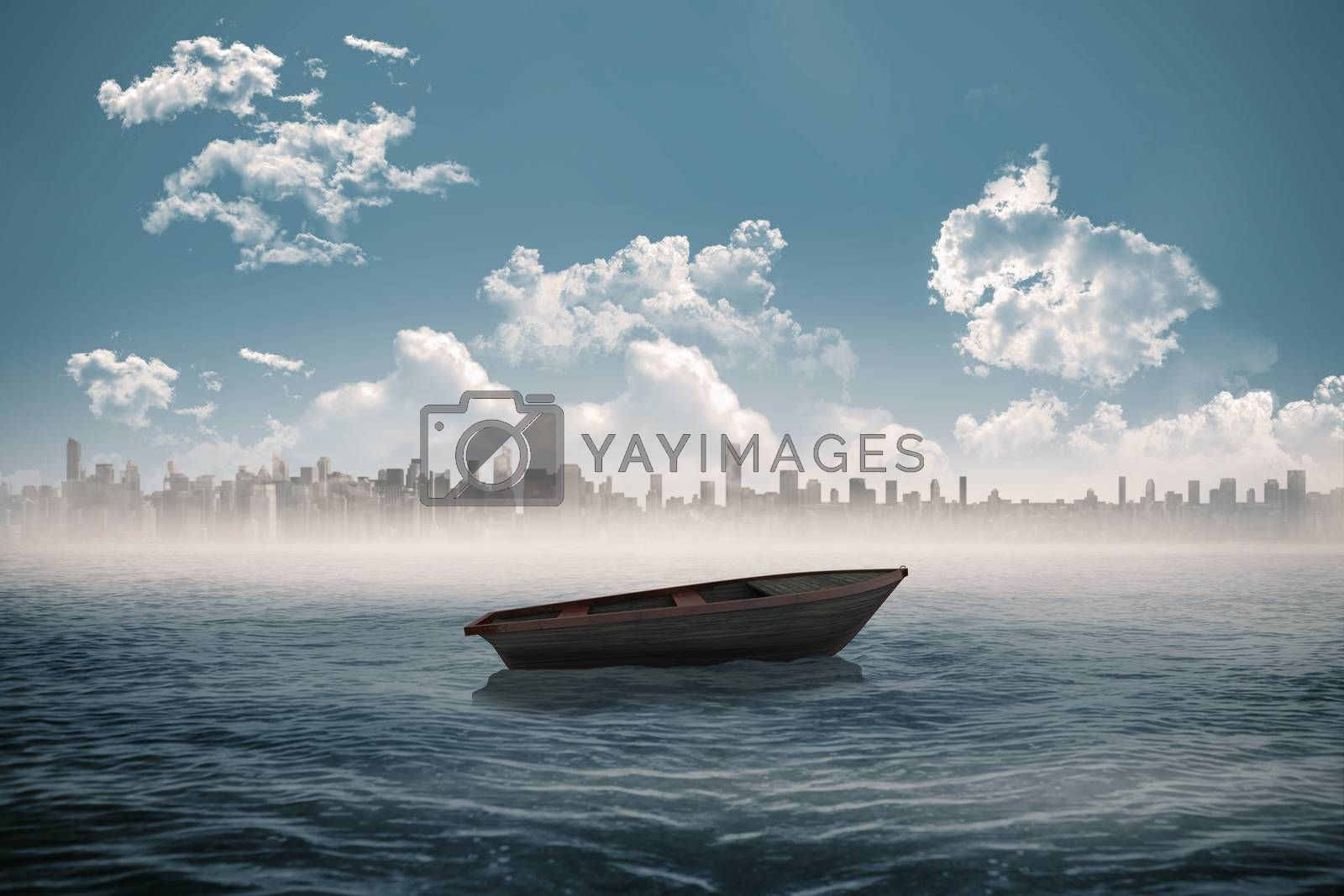 Royalty free image of Small boat in the sea with city on horizon by Wavebreakmedia