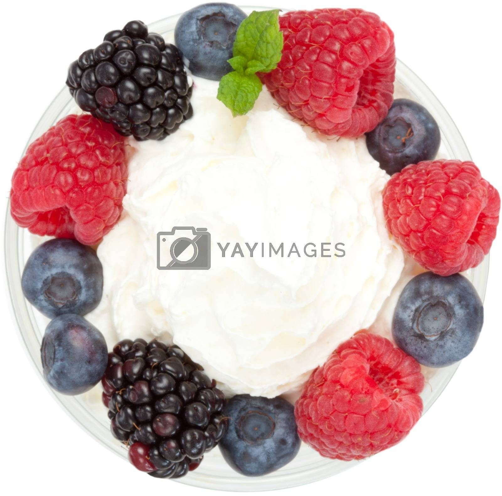 Royalty free image of Meringue dessert with fruit and cream by Wavebreakmedia