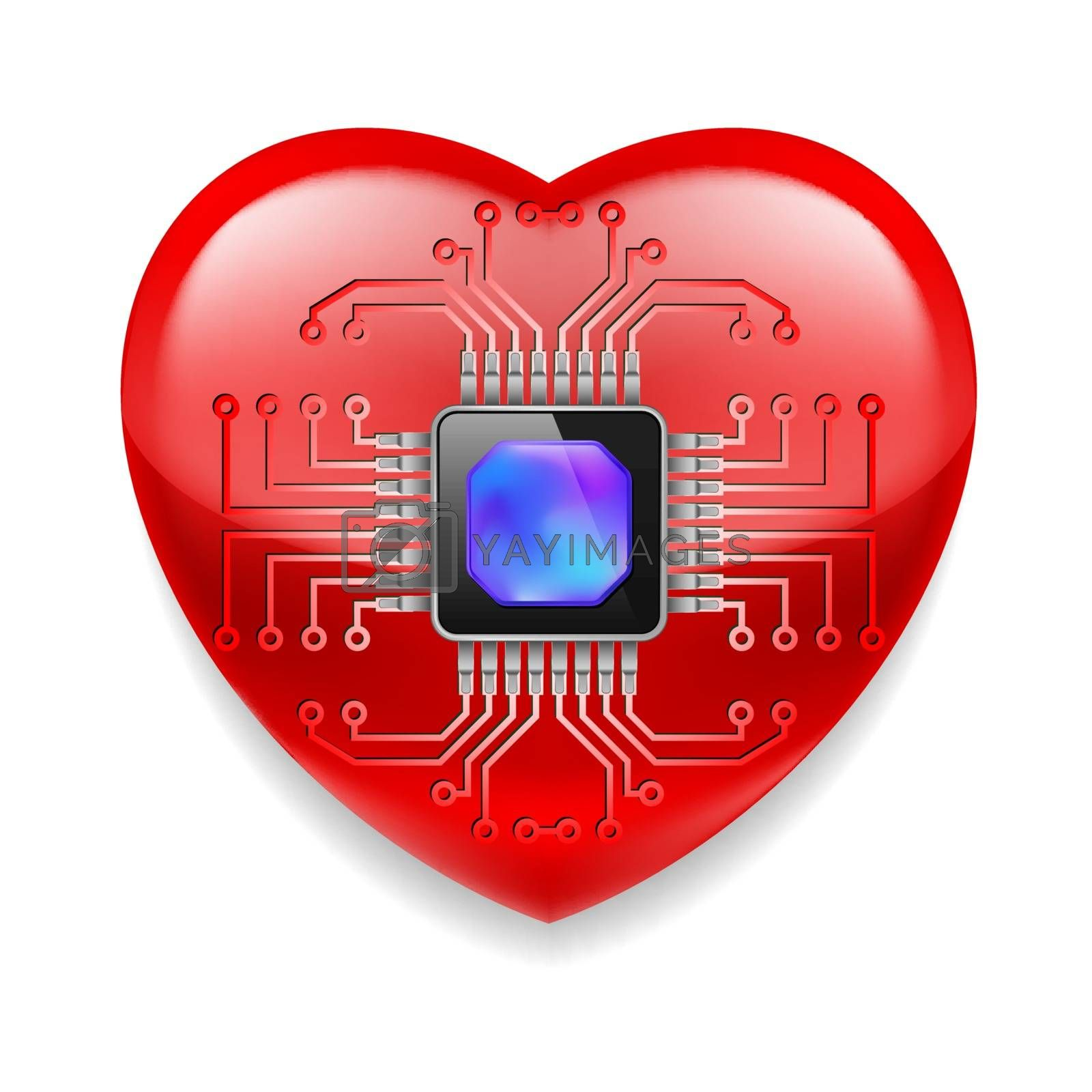 Royalty free image of Red heart with microchip by dvarg