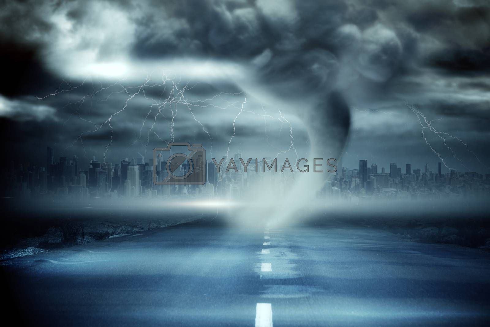 Royalty free image of Stormy sky with tornado over road by Wavebreakmedia