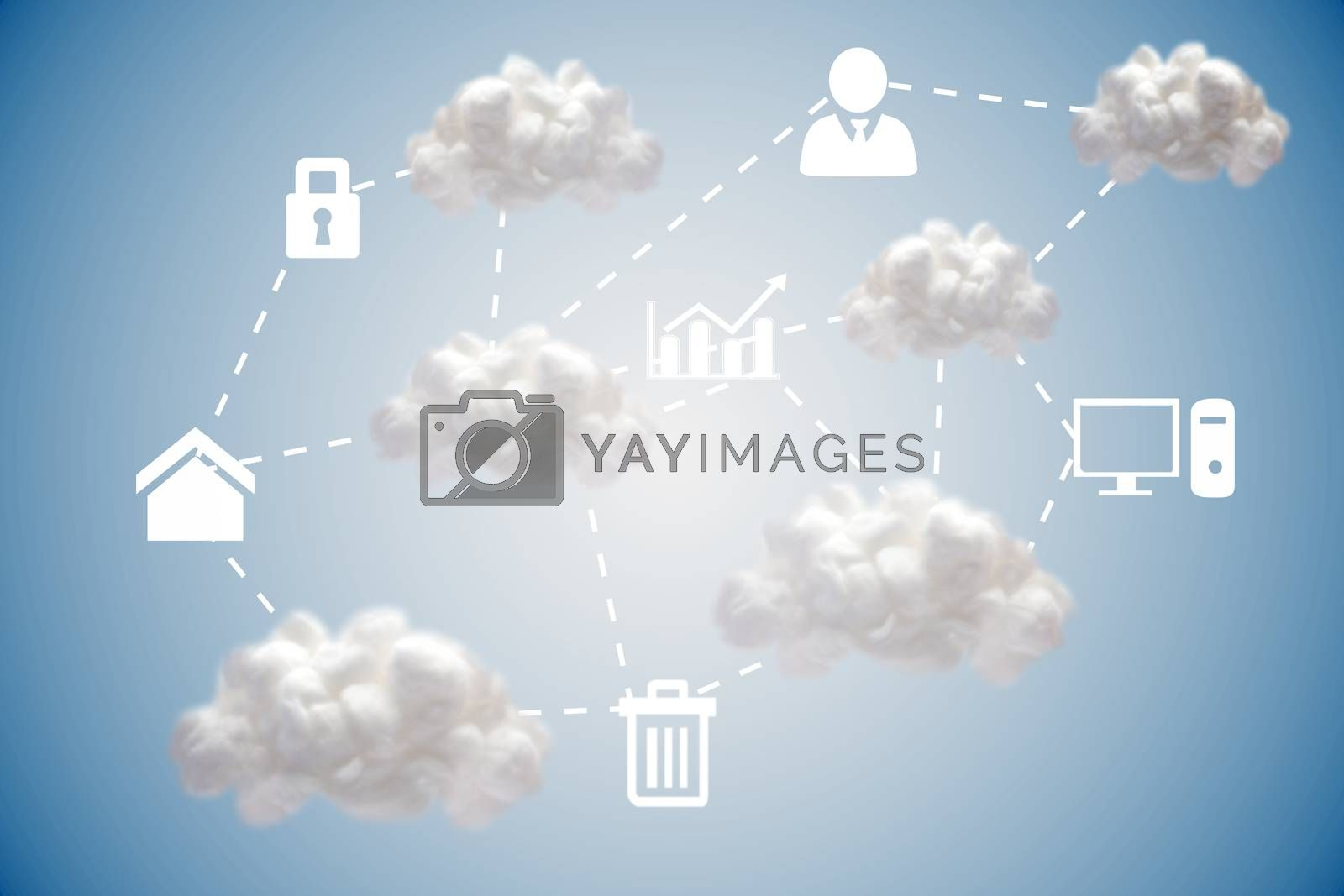Royalty free image of Cloud computing graphic with icons  by Wavebreakmedia