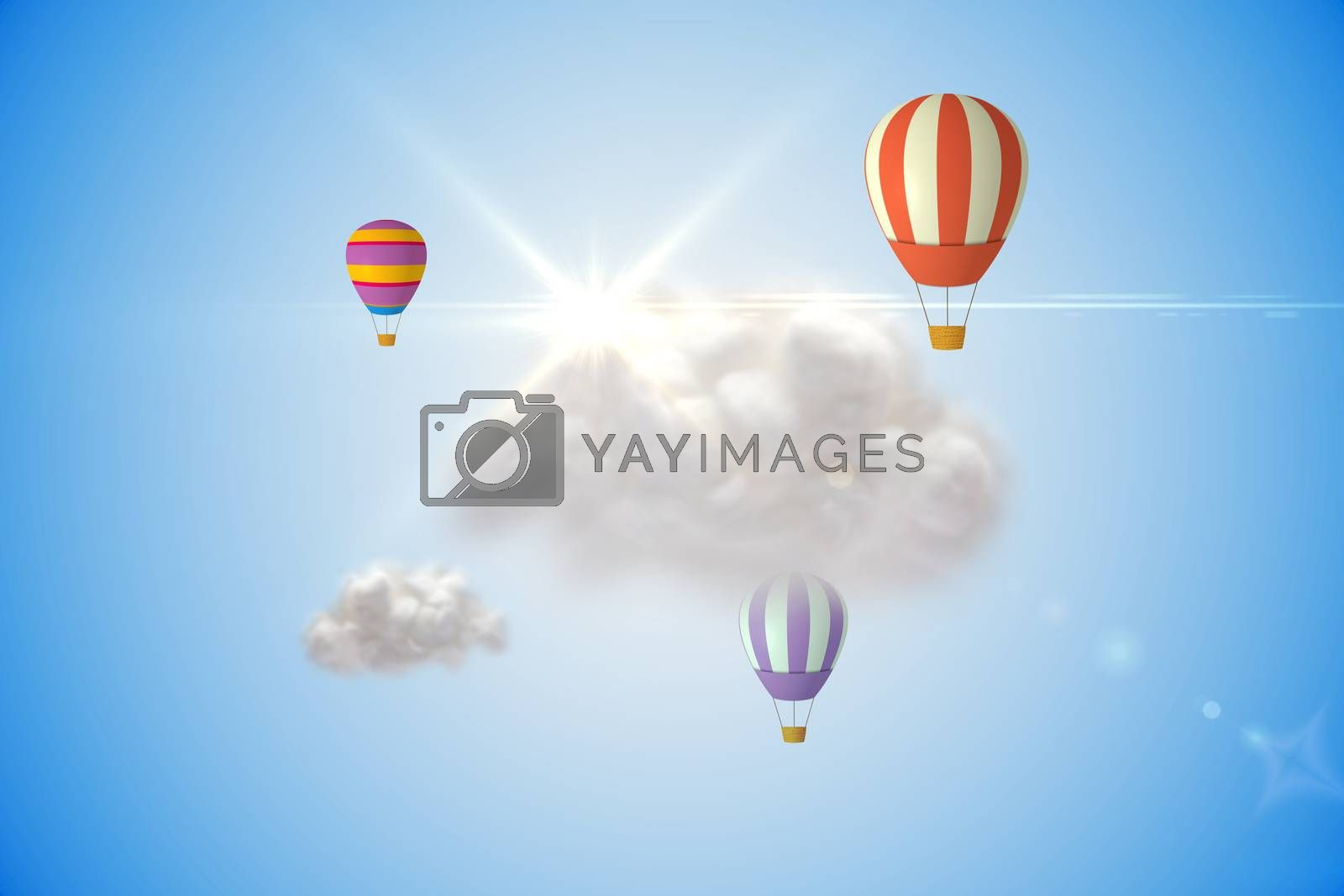 Royalty free image of Cloud computing graphic with hot air balloons by Wavebreakmedia