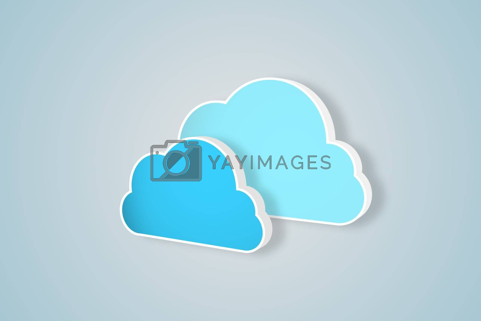 Royalty free image of Two blue clouds for cloud computing by Wavebreakmedia