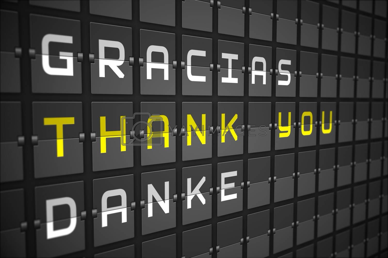 Thank you in languages on digitally generated black mechanical board