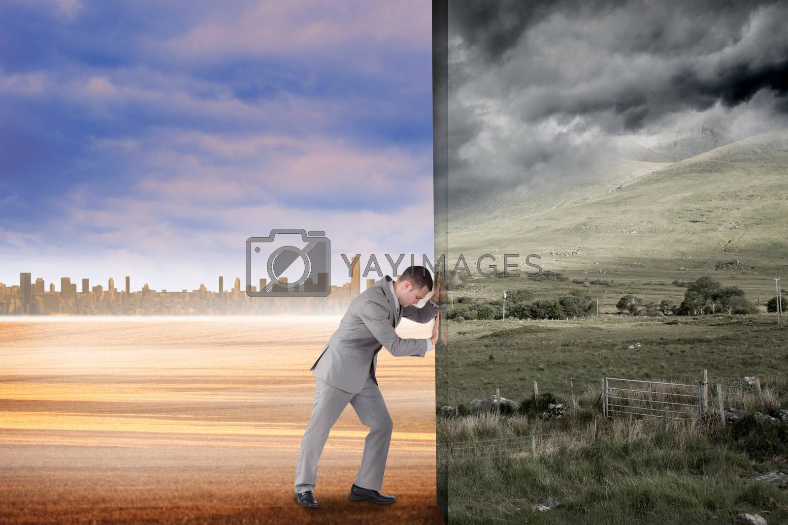 Composite image of businessman pushing away scene by Wavebreakmedia