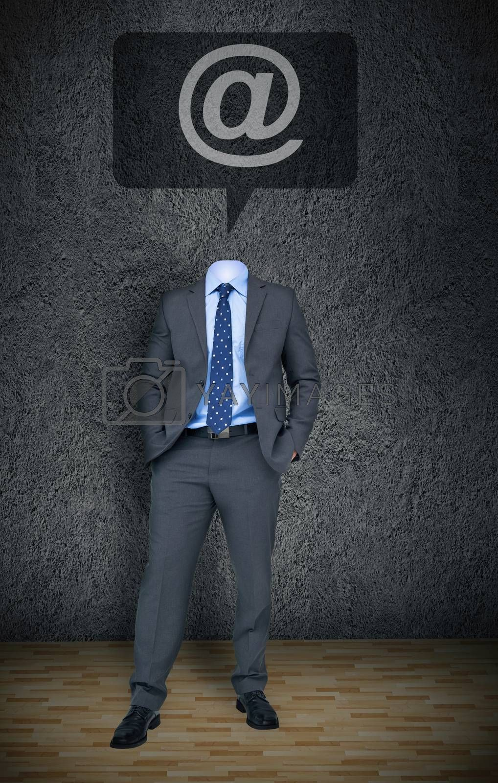 Composite image of headless businessman with at sign in speech bubble in grey room
