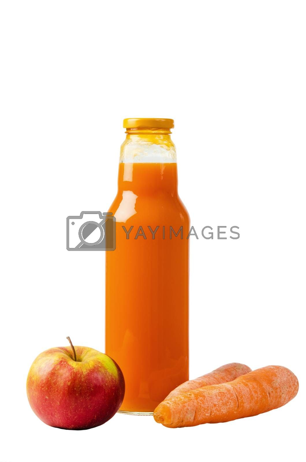 Bottle with carrots juice and an apple, it is isolated on white